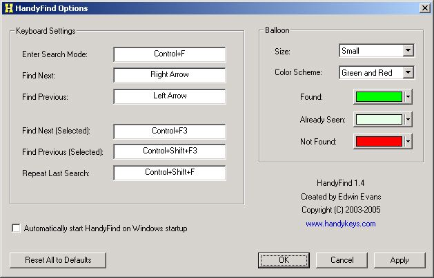 HandyFind Options dialog